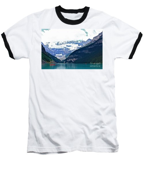 Baseball T-Shirt featuring the photograph Red Canoes Turquoise Water by Linda Bianic