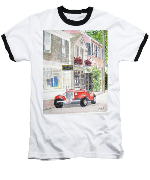 Baseball T-Shirt featuring the painting Red Car by Carol Flagg