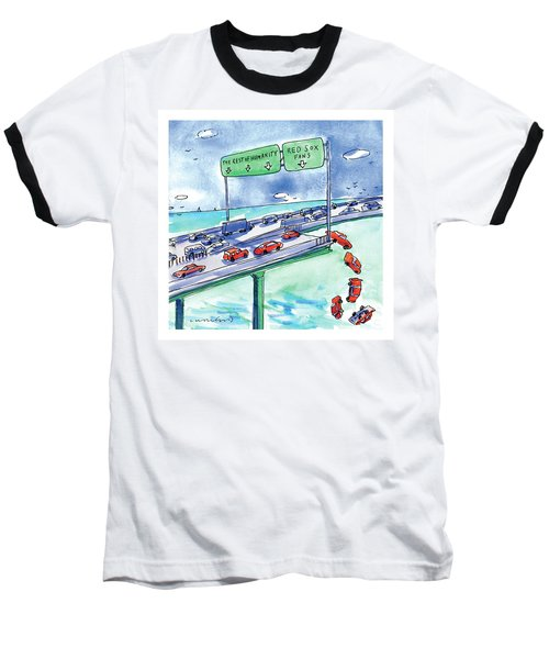 Red Cars Drop Off A Bridge Under A Sign That Says Baseball T-Shirt by Michael Crawford
