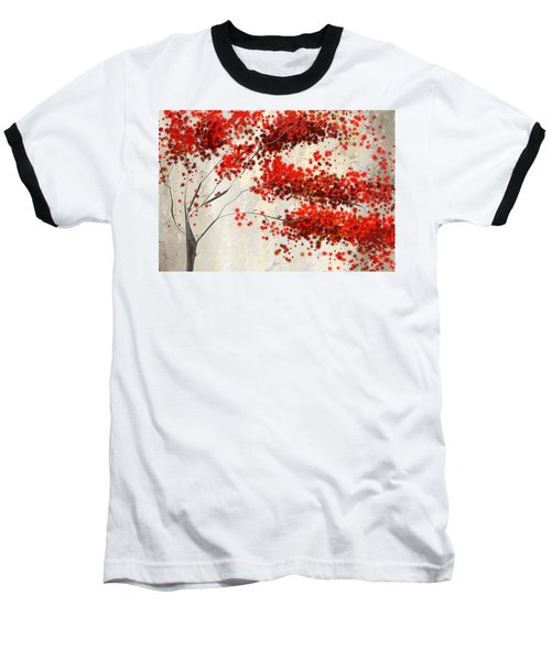 Red Divine- Autumn Impressionist Baseball T-Shirt