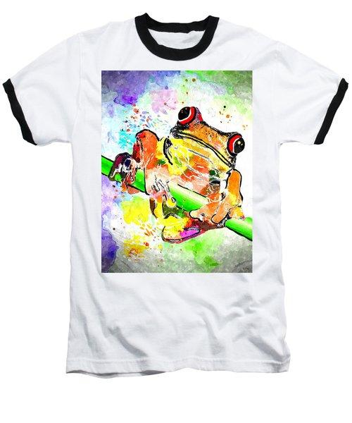 Red Eyed Tree Frog Grunge Baseball T-Shirt by Daniel Janda