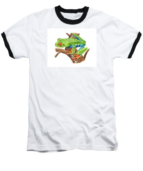 Red-eyed Treefrog Baseball T-Shirt by Cindy Hitchcock