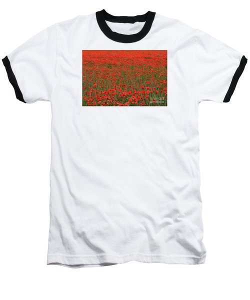 Red Field Baseball T-Shirt by Simona Ghidini