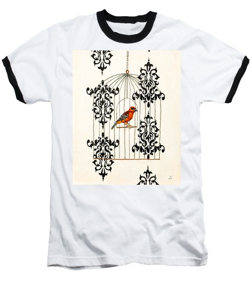 Red Finch Baseball T-Shirt by Stefanie Forck