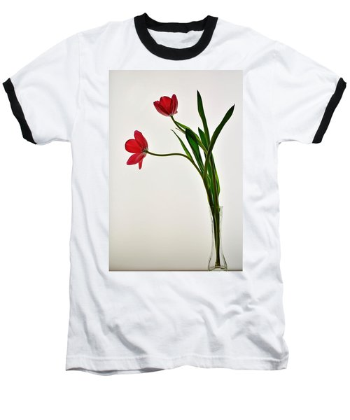 Red Flowers In Glass Vase Baseball T-Shirt