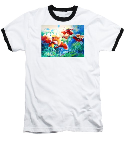 Red Hot Cool Blue Baseball T-Shirt by Kathy Braud