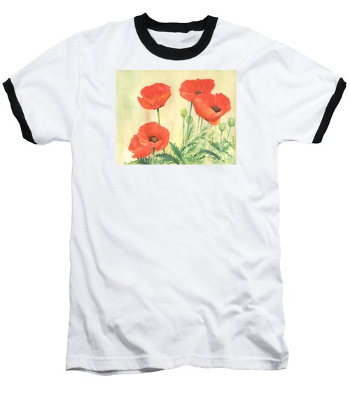 Red Poppies 3 Colorful Watercolor Poppy Floral Original Art Flowers Garden Artist K. Joann Russell Baseball T-Shirt