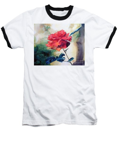 Watercolor Of A Single Red Rose On A Branch Baseball T-Shirt