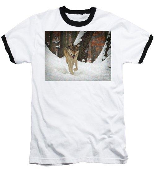 Baseball T-Shirt featuring the digital art Red Wolf On A Winter Hunt by Lianne Schneider