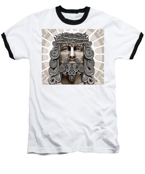 Redeemer - Modern Jesus Iconography - Copyrighted Baseball T-Shirt by Christopher Beikmann