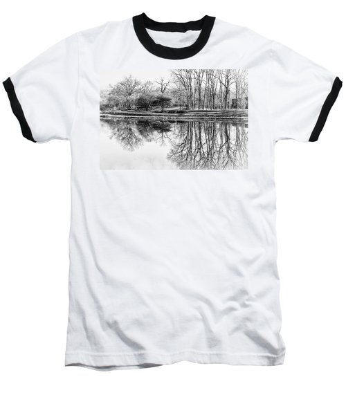 Reflection In Black And White Baseball T-Shirt by Julie Palencia