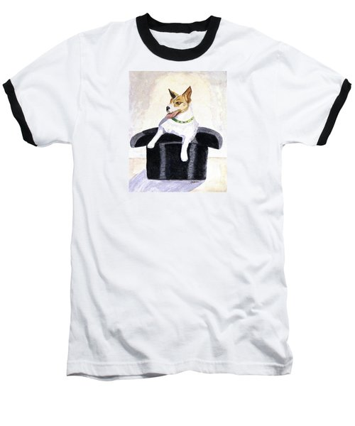 Baseball T-Shirt featuring the painting Reggie In A Top Hat  by Angela Davies
