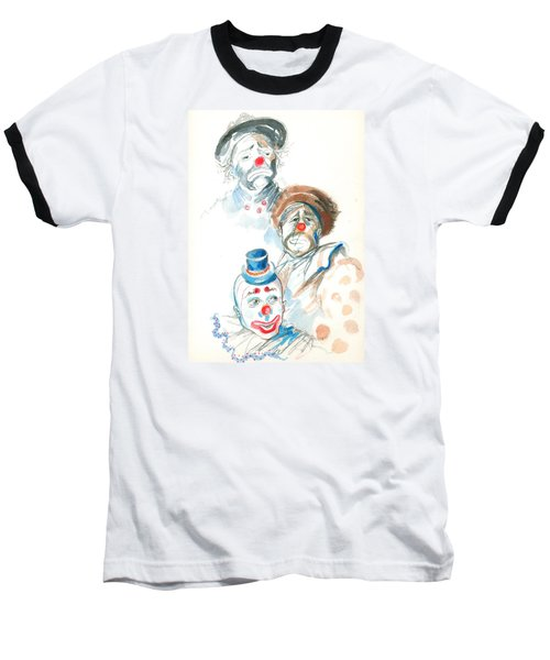 Baseball T-Shirt featuring the painting Remember The Clowns by Mary Armstrong