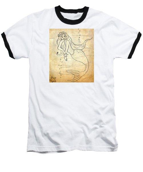 Retro Mermaid Baseball T-Shirt by Rosalie Scanlon