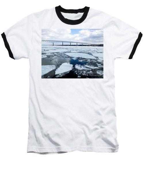 Rhinecliff Bridge Over The Icy Hudson River Baseball T-Shirt