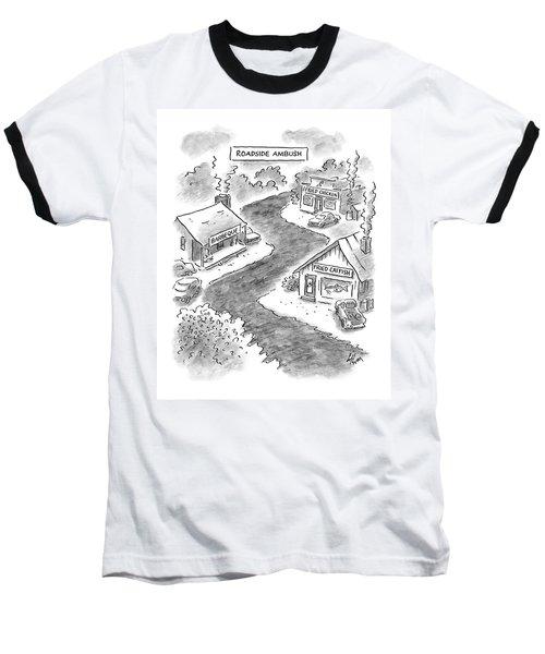 Roadside Ambush Baseball T-Shirt by Frank Cotham