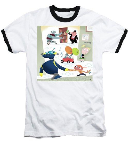 Robots And Children At School Baseball T-Shirt