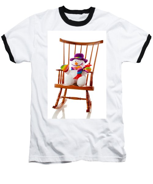 Baseball T-Shirt featuring the photograph Happy Snowman Sitting In A Rocking Chair  by Vizual Studio
