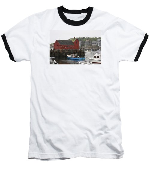 Rockport Inner Harbor With Lobster Fleet And Motif No.1 Baseball T-Shirt