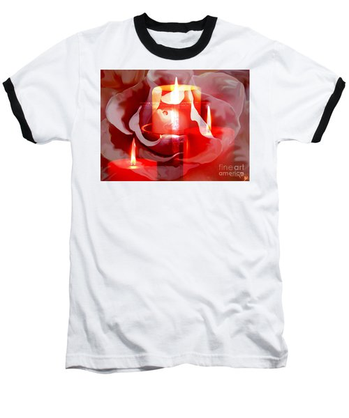 Baseball T-Shirt featuring the painting Rose Cross And Candles by Annie Zeno