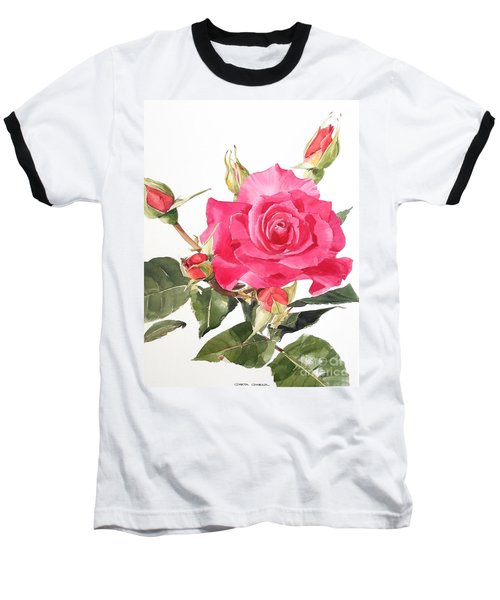 Watercolor Red Rose Margaret Baseball T-Shirt