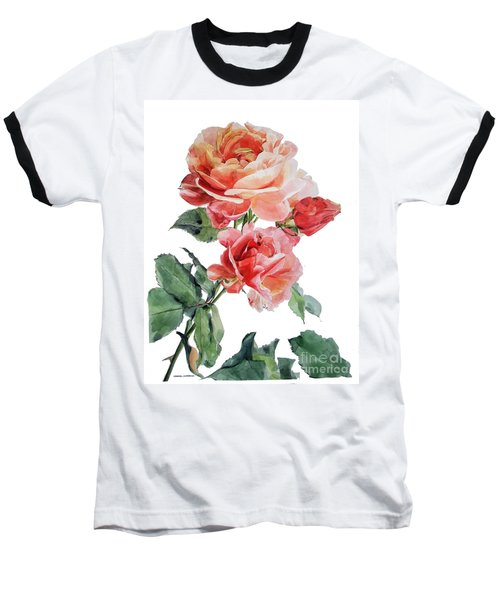 Watercolor Of Red Roses On A Stem I Call Rose Maurice Corens Baseball T-Shirt