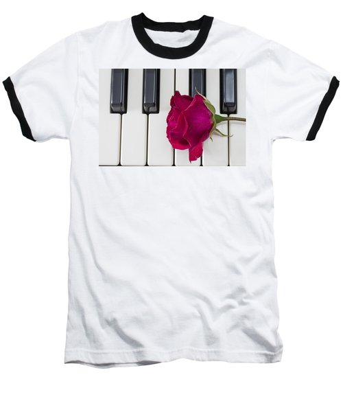 Rose Over Piano Keys Baseball T-Shirt