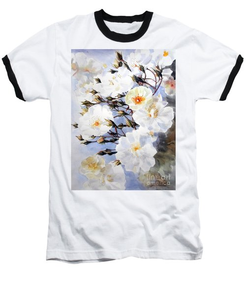 Rose Tchaikowsky A Stem Of White Roses And Buds Baseball T-Shirt by Greta Corens