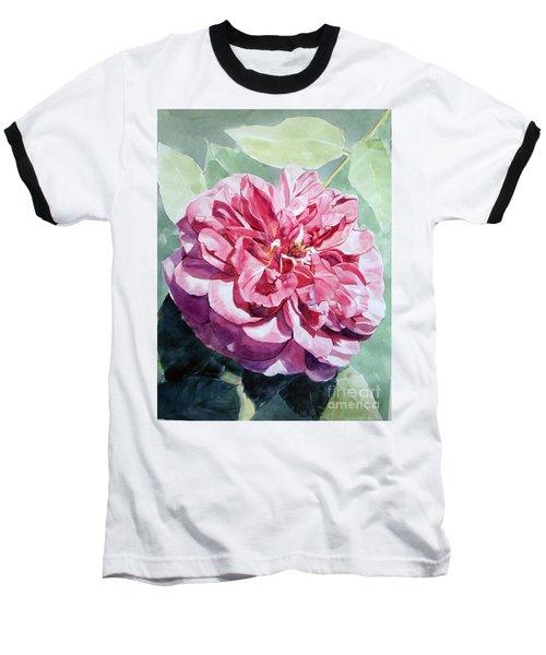 Watercolor Of A Pink Rose In Full Bloom Dedicated To Van Gogh Baseball T-Shirt