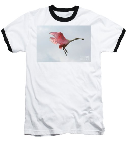 Roseate Spoonbill In Flight Baseball T-Shirt by Carol Groenen