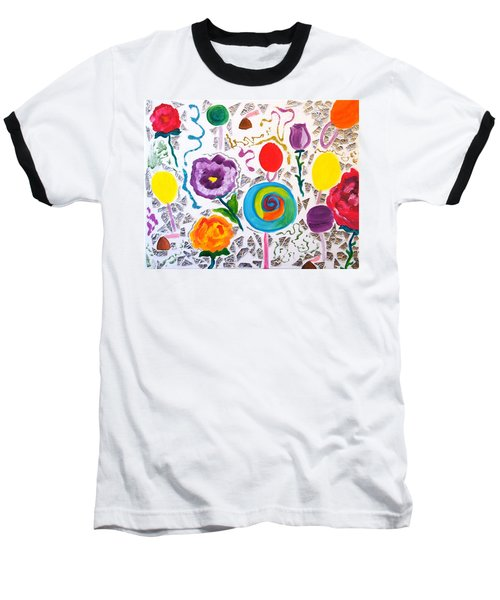 Baseball T-Shirt featuring the painting Roses And Lollipops For Mom by Meryl Goudey
