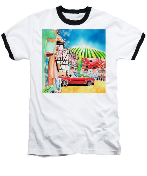 Baseball T-Shirt featuring the painting Route Des Vins by Hisayo Ohta