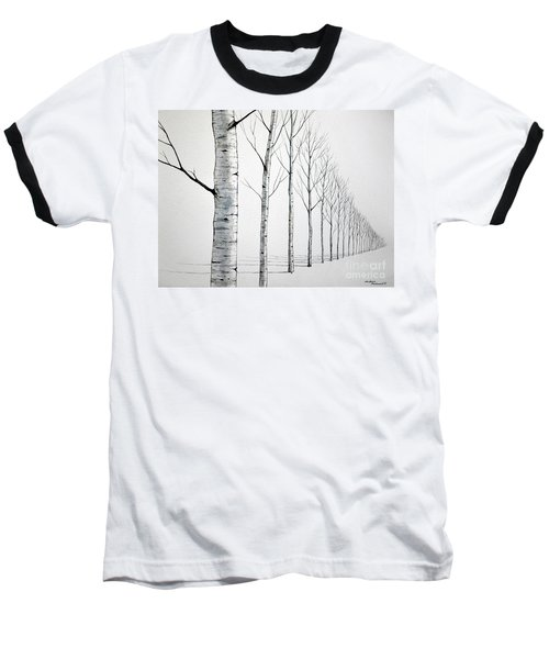 Row Of Birch Trees In The Snow Baseball T-Shirt