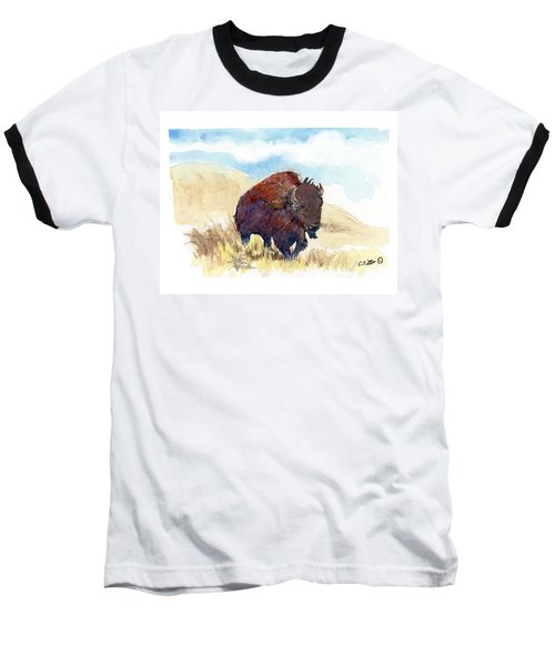 Baseball T-Shirt featuring the painting Running Buffalo by C Sitton
