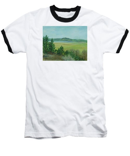 Rural Landscape Art Original Colorful Oil Painting Swan Lake Oregon  Baseball T-Shirt