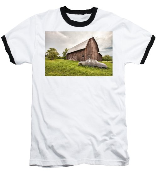 Rustic Art - Old Car And Barn Baseball T-Shirt