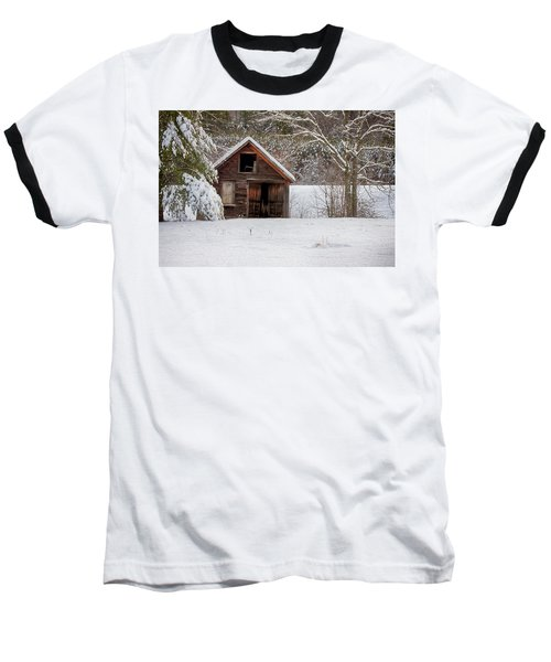 Rustic Shack In Snow Baseball T-Shirt