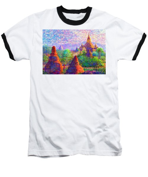 Baseball T-Shirt featuring the painting Bagan, Burma, Sacred Spires by Jane Small
