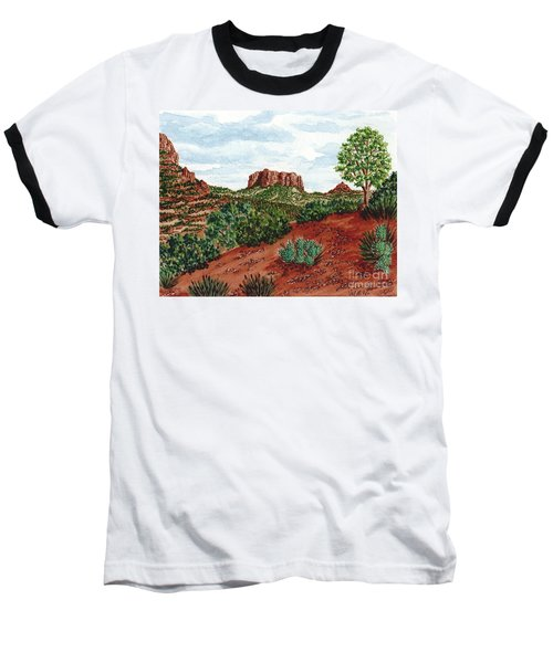 Baseball T-Shirt featuring the painting Sadona Two Mountains by Val Miller
