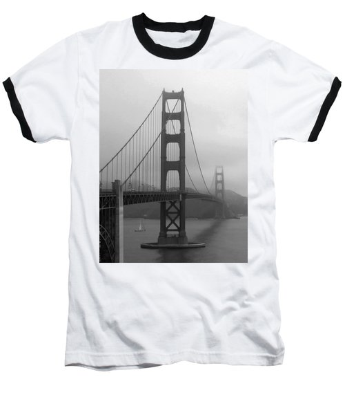 Sailboat Passing Under Golden Gate Bridge Baseball T-Shirt by Connie Fox