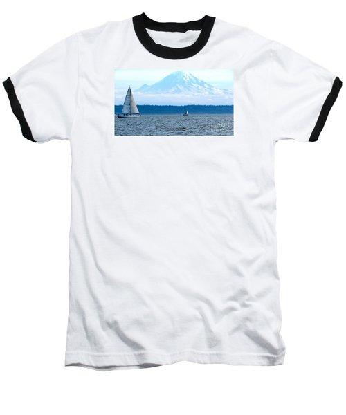 Sailing In Mt. Rainier's Shadow Baseball T-Shirt