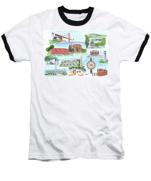 San Francisco Highlights Montage Baseball T-Shirt by Mike Robles