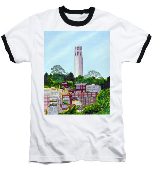 San Francisco's Coit Tower Baseball T-Shirt by Mike Robles