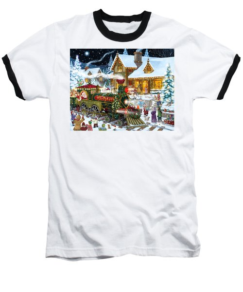 Santa Arrives In Rudolph Train Baseball T-Shirt