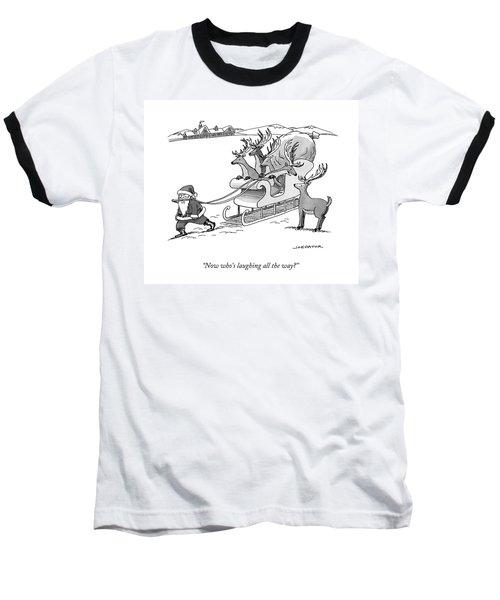 Santa Claus Pulls A Sleigh Full Of Reindeer Baseball T-Shirt