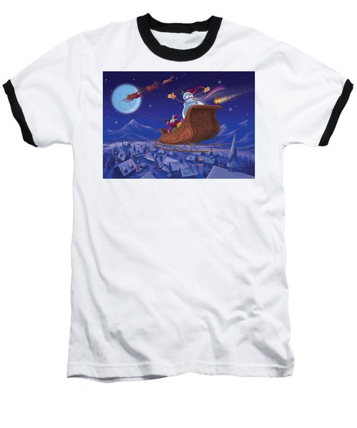 Baseball T-Shirt featuring the painting Santa's Helper by Michael Humphries