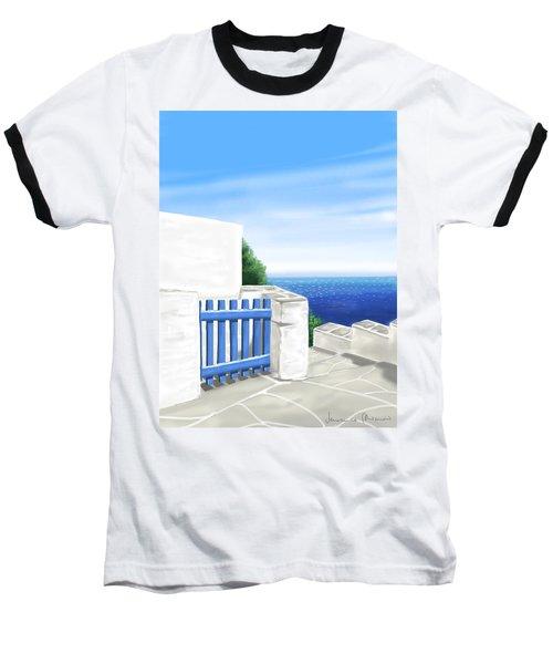Santorini Baseball T-Shirt by Veronica Minozzi