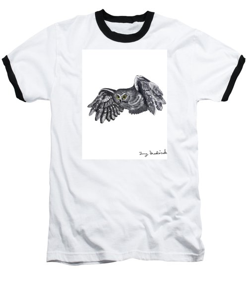 Baseball T-Shirt featuring the drawing Saw-whet Owl by Terry Frederick