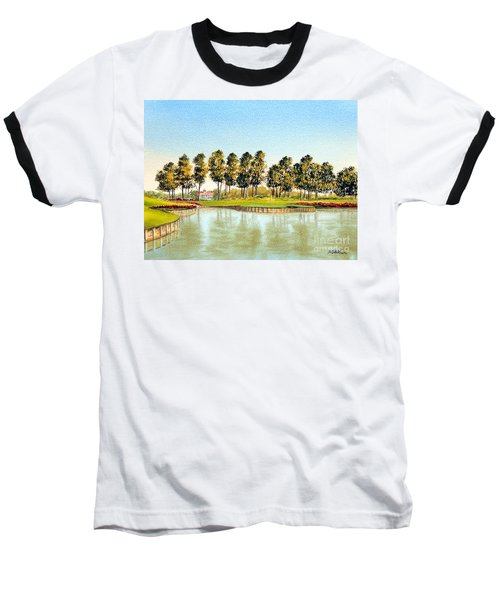 Baseball T-Shirt featuring the painting Sawgrass Tpc Golf Course 17th Hole by Bill Holkham