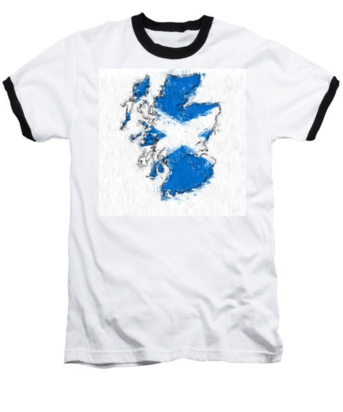 Scotland Painted Flag Map Baseball T-Shirt